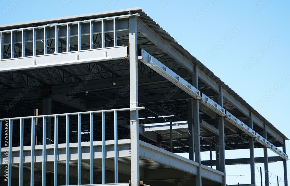 Fototapety, obrazy: steel construction frame of commercial building