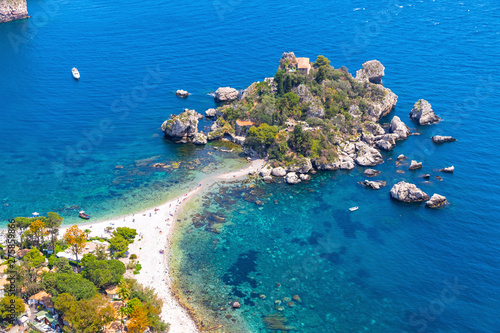 Платно Aerial view of Isola Bella island and beach in Taormina, Sicily, Italy