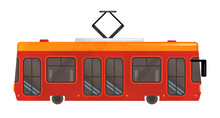Cartoon Tram Train On White Ba...