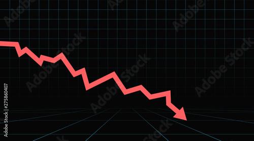 Slika na platnu Arrow pointing downwards showing crisis