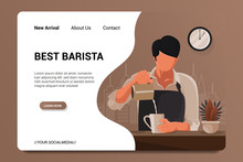 Best Barista Landing Page Background Vector