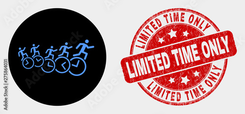 Cuadros en Lienzo Rounded people run over clocks icon and Limited Time Only stamp