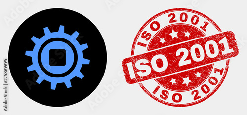 Fotografia  Rounded gear icon and ISO 2001 seal stamp
