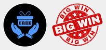 Rounded Hands Give Gift Icon And Big Win Seal Stamp. Red Rounded Grunge Seal Stamp With Big Win Caption. Blue Hands Give Gift Icon On Black Circle.