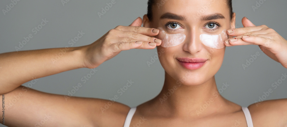 Fototapety, obrazy: Woman with Collagen Pads under her Eyes