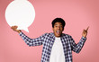 canvas print picture - Excited Afro Guy Holding Blank Speech Bubble
