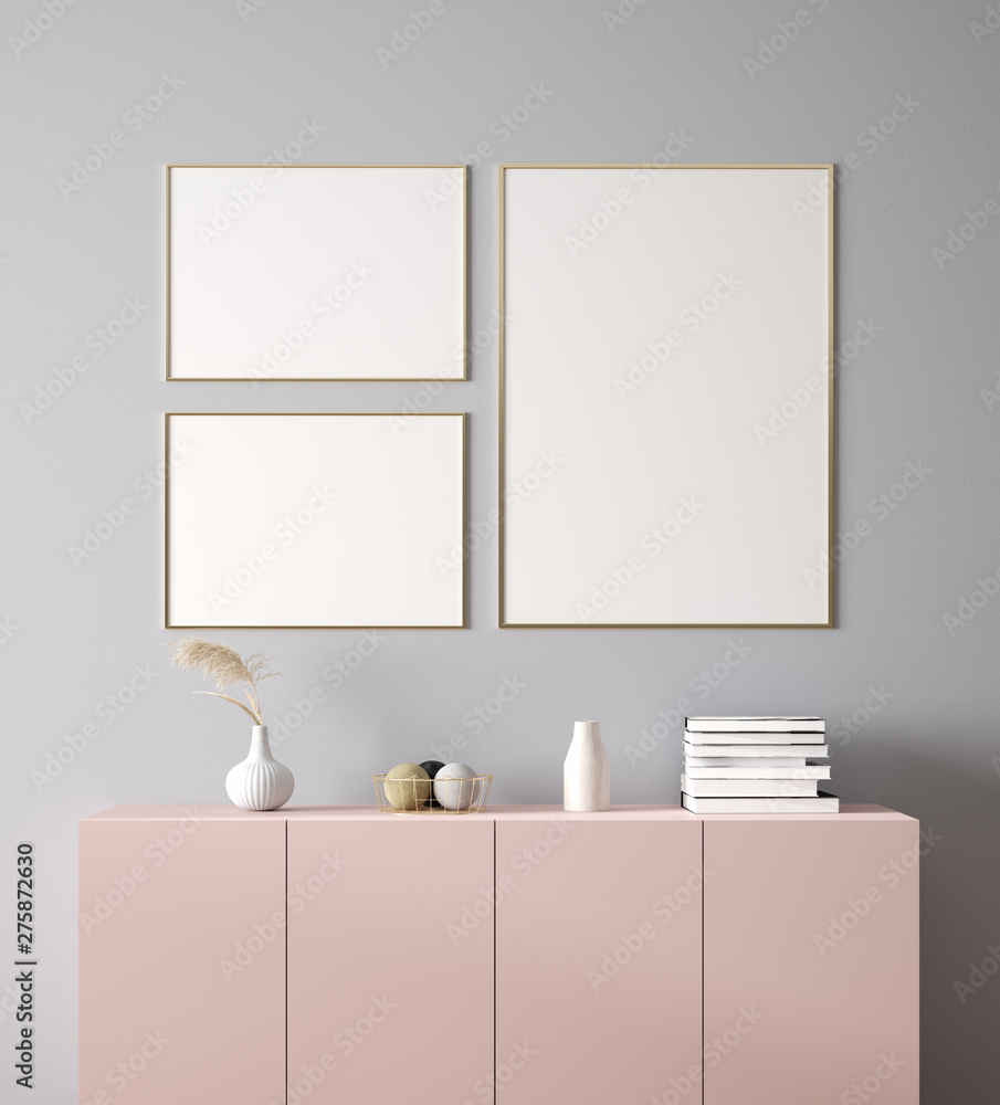 Fototapety, obrazy: Poster, wall  mockup with cabinet and decor in interior background, 3d rendering