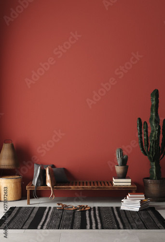 Fotografering Rustic Home interior mockup with bench,chairs and decor in red room, 3d renderin