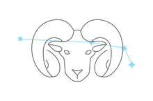 Zodiac Signs Aries. Line Icon....