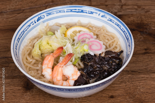 Photo  Ramen Shio with fish broth, shrimp, naruto Kamaboko,