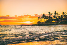 Hawaii Beach Sunset Summer Paradise Vacation Landscape.