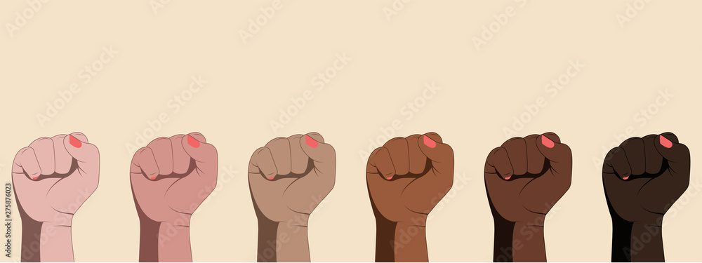 Fototapeta Female hands with clenched fists isolated on white background.