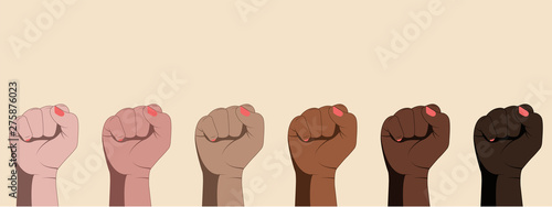 Canvastavla  Female hands with clenched fists isolated on white background.