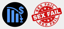 Rounded Crisis Bar Chart Icon And Sex Fail Seal Stamp. Red Rounded Textured Stamp With Sex Fail Text. Blue Crisis Bar Chart Icon On Black Circle. Vector Composition For Crisis Bar Chart In Flat Style.