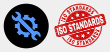 Rounded Options Tols Icon And ISO Standards Seal. Red Rounded Distress Seal Stamp With ISO Standards Caption. Blue Options Tols Icon On Black Circle. Vector Combination For Options Tols In Flat Style.