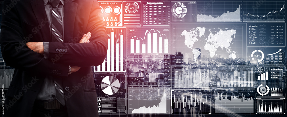 Fototapeta Data Analysis for Business and Finance Concept. Graphic interface showing future computer technology of profit analytic, online marketing research and information report for digital business strategy.