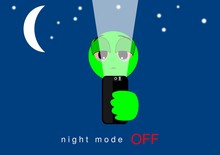 Face, Expression Of Emoticons Of Absence Of Technology Of Night Mode Effect On The Screen Of The Application. Illustration Of Innovative Application. Moon And Stars In The Background. Tired Vision.