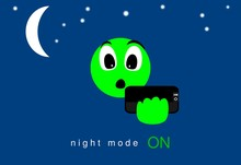 Face, Expression Of Emoticons Of Pleasant Surprise. Technology Of Night Mode Effect On The Screen Of The Application. Illustration Of Innovative Application. Moon And Stars. Relaxed Vision. Quality.