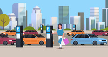 Girl Driver Paying To Parking Place By Smartphone At Pay Station Ticketing Machine Nfc Payment System Concept Modern Cityscape Background Flat Full Length Horizontal