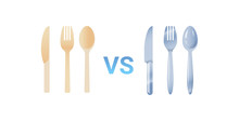 Plastic Vs Stainless Steel Spoon Fork And Knife Cutlery Set Zero Waste Concept Flat White Background