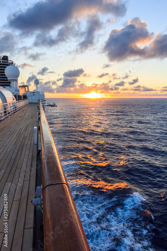 Sunset aboard a cruise ship, South Pacific Canvas Print