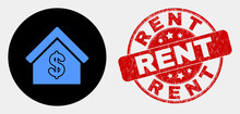 Rounded Rent House Pictogram And Rent Seal Stamp. Red Rounded Distress Stamp With Rent Text. Blue Rent House Icon On Black Circle. Vector Combination For Rent House In Flat Style.