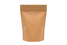 Brown Paper Bag Isolated On White Background With Clipping Path.Coffee Packaging