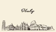 Italy Skyline Hand Draw Vector...