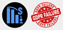 Rounded Financial Epic Fail Chart Icon And Gdpr Failure Stamp. Red Rounded Textured Seal Stamp With Gdpr Failure Caption. Blue Financial Epic Fail Chart Icon On Black Circle.