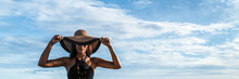 Elegant Mysterious Fashion Woman Wearing Floppy Hat Hiding Eyes Over Face In Black Sexy Stylish Outfit Banner Panorama.