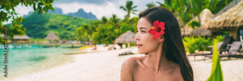 Poster Ecole de Danse Asian natural beauty woman wellness spa skincare banner panorama on tropical beach background.