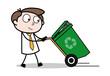Walking with Dustbin - Office Businessman Employee Cartoon Vector Illustration
