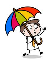 Holding A Umbrella - Office Businessman Employee Cartoon Vector Illustration