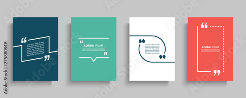 Quote frames blank templates set. Text in brackets, citation empty speech bubbles, quote bubbles. Textbox isolated on color background. Vector illustration.