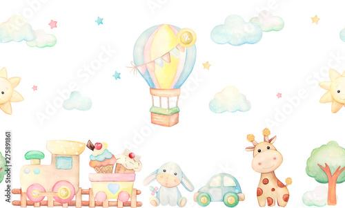 akwarela. ilustracja dla dzieci. zabawki.