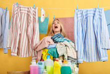 Crying Blonde Woman With Wide Open Mouth Looking Up, Oh, My God. What Awful Detergents.help Me. Isolated Yellow Background