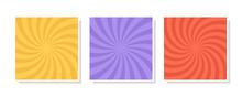 Set Of Swirl, Vortex Backgrounds. Color Rotating Spiral. Vector Illustration.