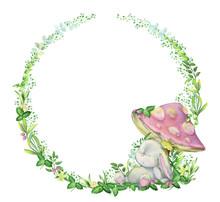 Watercolor, Frame, Rabbit Is Sleeping Under A Mushroom