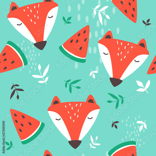 Muzzle of foxes, hand drawn backdrop. Colorful seamless pattern with muzzles of animals, watermelons, leaves. Cute wallpaper, good for printing. Overlapping background vector. Design illustration