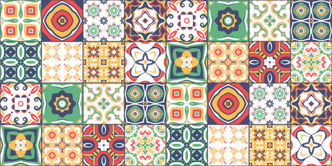 Naklejka Do kuchni ornate portuguese decorative tiles azulejos. Vector.