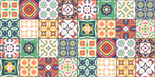 Photo ornate portuguese decorative tiles azulejos. Vector.