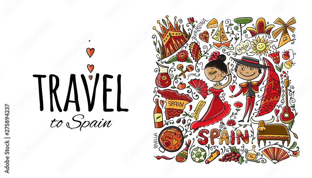 Fototapety, obrazy: Travel to Spain. Greeting card for your design