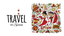 Travel To Spain. Greeting Card...