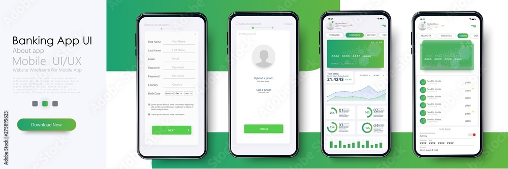 Fototapety, obrazy: Banking App UI, UX Kit for responsive mobile app or website with different GUI layout including Login, Create Account, Profile, Transaction and Notification screens. Vector illustration