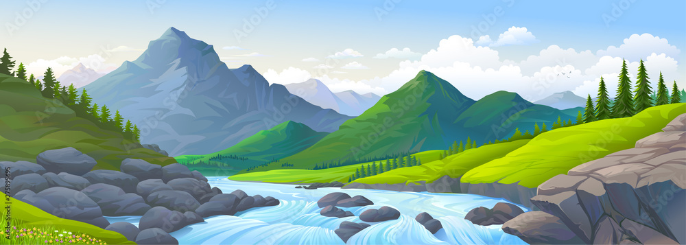 Fototapeta A stream of river with boulders, mountains and meadows