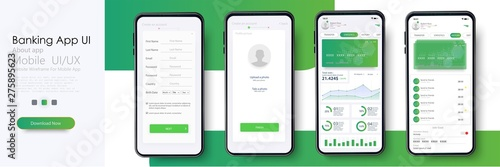 Banking App UI, UX Kit for responsive mobile app or website with different GUI layout including Login, Create Account, Profile, Transaction and Notification screens Wallpaper Mural
