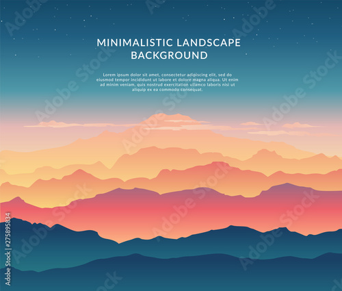 Cadres-photo bureau Bleu vert Minimalistic vector landscape background of mountains for your design.
