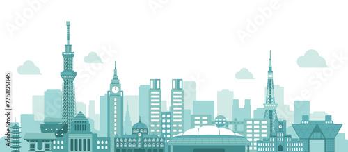Fotomural  Tokyo skyline flat vector illustration. Tokyo landmark buildings.
