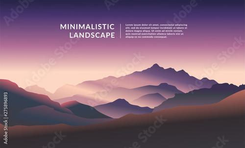 Fototapeta Minimalistic vector landscape background of mountains for your design. obraz na płótnie