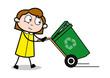 Dragging Dustbin - Retro Office Girl Employee Cartoon Vector Illustration